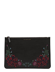 EMBROIDERED LEATHER-FLR EMBR PCH-PC - BLACK