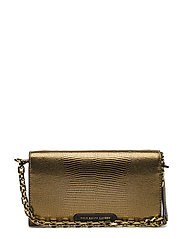 LIZRD EMBOSSED LTHR-CHAIN WALLET-WL - GOLD