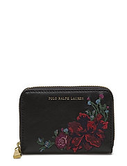 Embroidered Leather Zip Wallet - BLACK
