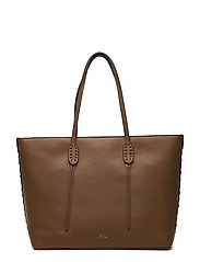 ADRIA PEBBLED LTHR-TOTE W ZIP-TTE-L - SADDLE