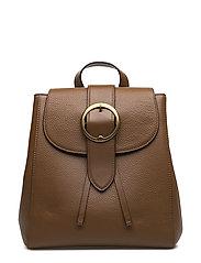 Pebbled Leather Backpack - SADDLE