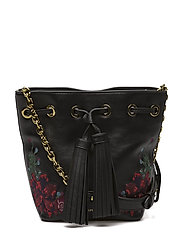 EMBROIDERED LEATHER-SM DRAWSTRNG-CX - BLACK