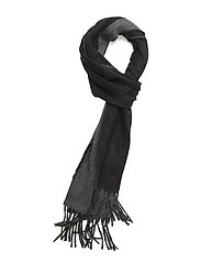 WOOL BLEND-REVERSIBLE SCARF - BLACK/CHARCOAL