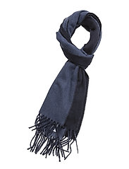 WOOL BLEND-REVERSIBLE SCARF - BR NAVY/SHL BLUE