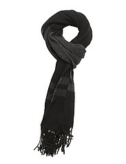 WOOL-BLANKET STRP SCARF - BLACK/ANTIQUE HEA