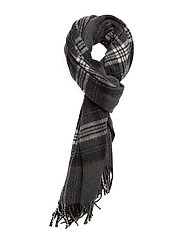 WOOL BLEND-BLANKET PLAID SCARF - CHARCOAL