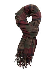 WOOL BLEND-BLANKET PLAID SCARF - BURGUNDY