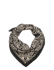 SILK-WASHED SILK BANDANA - BLACK/CREAM