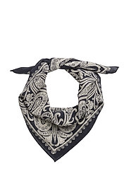 SILK-WASHED SILK BANDANA - NAVY/CREAM
