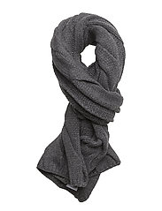 CABLE WOOL BLEND-ROPE CABLE SCARF - ANTIQUE HTHR