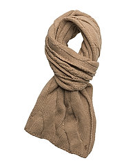 CABLE WOOL BLEND-ROPE CABLE SCARF - CAMEL