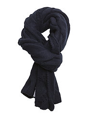 CABLE WOOL BLEND-ROPE CABLE SCARF - BRIGHT NAVY