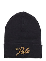 WOOL-POLO SCRIPT BEANIE - NAVY/GOLD
