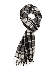 WOOL BLEND-TONAL CHECK SCARF - BLACK/CREAM