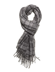 WOOL BLEND-TONAL CHECK SCARF - ANTIQUE/FAWN GRAY HEATHER