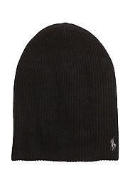 WOOL BLEND-METALLIC PONY HAT - POLO BLACK/PLATIN