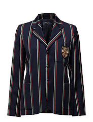 Striped Wool-Blend Blazer - NAVY/RED MULTI