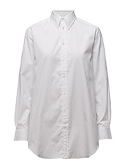 High-Low-Hem Poplin Tunic - WHITE