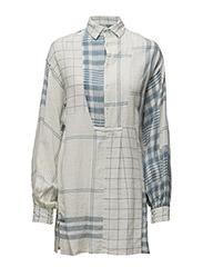 MARCELLA TNC LS CASUAL DRESS - BLUE/CREAM PLAI