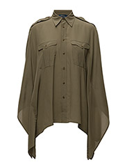 Silk Poncho Shirt - BASIC  OLIVE