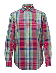 Relaxed Fit Plaid Shirt - 1648 RED/GREEN