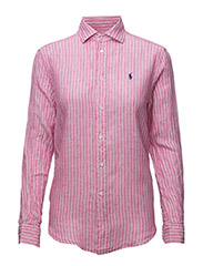 RELAXED FIT STRIPE LINEN SHIRT - 367 FLAMINGO PINK/WHITE