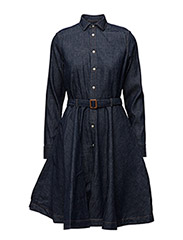 Belted Denim Shirtdress - DARK INDIGO