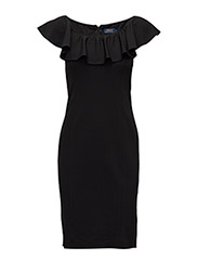 Ruffled Off-the-Shoulder Dress - POLO BLACK