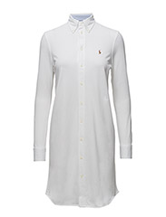 Knit Oxford Shirtdress - WHITE