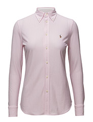 Striped Knit Oxford Shirt - CARMEL PINK/WHITE