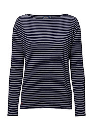 LS BOATNECK-LONG SLEEVE-KNIT - CRUISE NAVY/WHI
