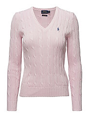 Cable-Knit V-Neck Sweater - CAPRI PINK