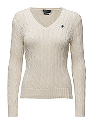 Cotton V-Neck Cable Sweater - CREAM
