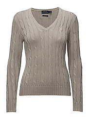 Cotton V-Neck Cable Sweater - STONE GREY