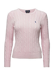Cable-Knit Crewneck Sweater - CAPRI PINK
