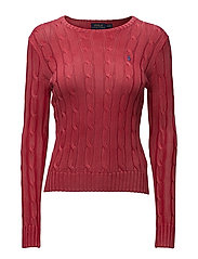 Cable-Knit Crewneck Sweater - FADED RED