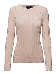 Cable-Knit Crewneck Sweater - PALE PINK