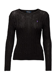 Cable-Knit Crewneck Sweater - POLO BLACK