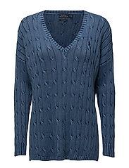 Cable-Knit Side-Slit Sweater - INDIGO