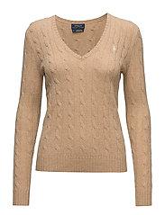 Wool Blend V-Neck Sweater - CAMEL MEL