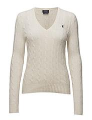 Wool Blend V-Neck Sweater - CREAM