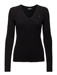 Wool Blend V-Neck Sweater - POLO BLACK