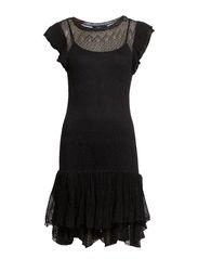 ANNA SS CASUAL DRESS - METALLIC BLACK