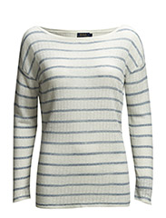 LILA LS SWT - CREAM/BLUE