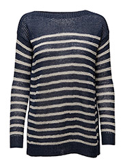 Striped Linen Boatneck Sweater - BRIGHT NAVY/COL