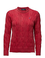 Cable-Knit Rollneck Sweater - FADED RED