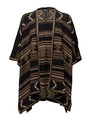 Linen-Silk Cardigan - BLACK/TAN