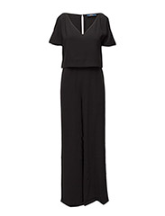 Crepe V-Neck Jumpsuit - POLO BLACK