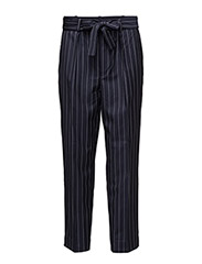 Pinstripe Wool High-Rise Pant - FRENCH NAVY