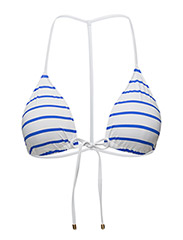 STRIPED T-BACK BIKINI TOP - WHITE GROUND FR